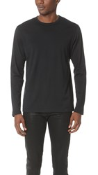 Sunspel Long Sleeve Crew Neck Tee Black