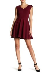 Love Ady V Neck Fit And Flare Dress Red