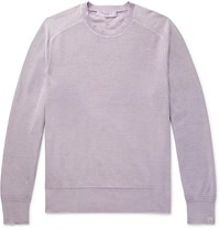 Rag And Bone Lance Slim Fit Garment Dyed Cotton Sweater Purple