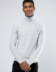 Boss Orange Akrol Roll Neck Jumper Slim Fine Knit Grey