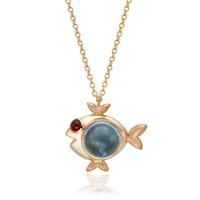 S H Koh Magical Fish Pendant Aquamarine And Pink Tourmaline Gold