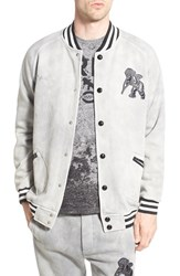 Men's Prps 'Caelum' Knit Baseball Jacket With Leather Trim