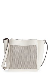 Vince Camuto Beatt Perforated Leather Bucket Bag Grey Vaporous Grey