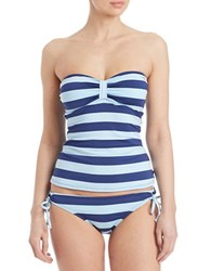 Splendid Striped Bandeau Tankini Top Navy Blue