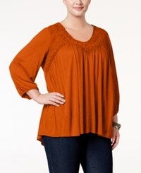 Eyeshadow Trendy Plus Size Embroidered Top Clove