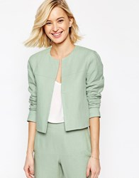 Asos Crop Blazer In Linen Mint Green