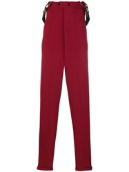Jean Paul Gaultier Vintage Bustier Skinny Suspender Trousers Red