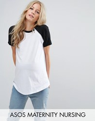 Asos Maternity Nursing Color Block T Shirt With Zip Detail White