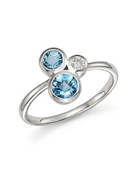 Bloomingdale's Blue Topaz And Diamond Three Stone Ring In 14K White Gold Blue White