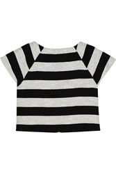 Alice Olivia Cropped Striped Cotton Blend Top Black
