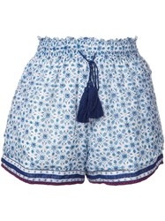 Talitha Elasticated Waistband Tassel Shorts Blue