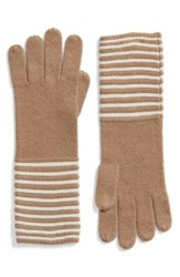 Michael Michael Kors Women's Double Links Wool And Cashmere Gloves Dark Camel Cream