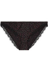Kiki De Montparnasse Ma Cherie Lace Trimmed Printed Stretch Silk Briefs Black