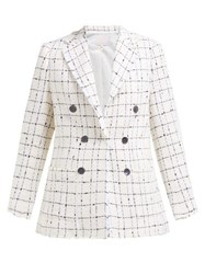 Rebecca Taylor Checked Double Breasted Cotton Blend Tweed Blazer Ivory