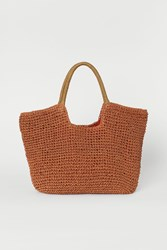 Handm H M Paper Straw Shopper Orange