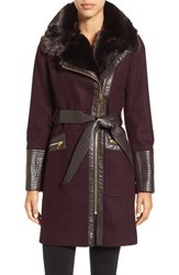 Via Spiga Women's Faux Leather And Faux Fur Trim Belted Wool Blend Coat Wine