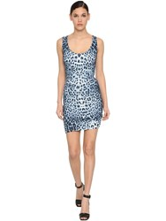 Roberto Cavalli Draped Leopard Print Jersey Mini Dress Blue