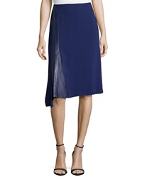 Reed Krakoff Leather Panel Pleated Skirt Cobalt