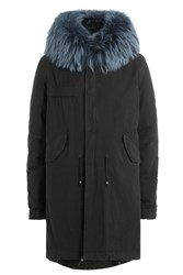 Mr And Mrs Italy Cotton Parka With Rabbit Fur Collar Blue