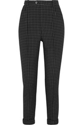 Isabel Marant Iola Checked Wool Twill Tapered Pants Black
