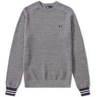 Fred Perry Textured Pique Crew Sweat Grey