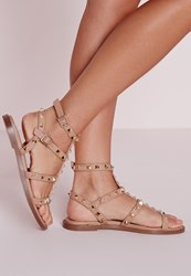 Missguided Studded Flat Gladiator Sandals Blush Pink