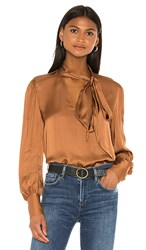 7 For All Mankind Tie Neck One Sleeve Top In Cognac. Penny