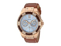 Guess U0775l7 Rose Gold Brown Leather Watches
