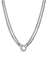 David Yurman Double Wheat Chain Necklace With Diamonds 16 Silver