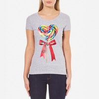 Love Moschino Women's Fitted Candy Bow T Shirt Melange Grey