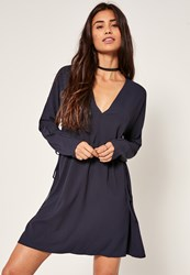 Missguided Navy Tie Side Skater Dress