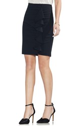 Vince Camuto Front Ruffle Pencil Skirt Rich Black
