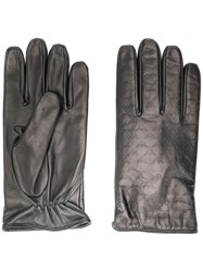 Emporio Armani Logo Embossed Gloves Black