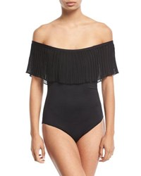 Luxe By Lisa Vogel Please Say Plisse Off The Shoulder Maillot One Piece Swimsuit Black