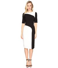 Maggy London Crepe Color Block Sheath Dress Ivory Black Women's Dress Multi