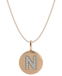 Macy's 14K Rose Gold Necklace Diamond Accent Letter N Disk Pendant