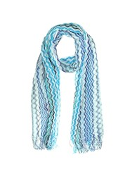 Missoni Viscose And Cotton Zig Zag Stole Aqua Baby Blue