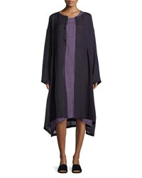 Eskandar Round Neck Linen Coat Purple