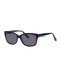 Thierry Mugler Two Tone Square Sunglasses Black Blue