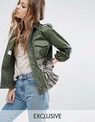 Milk It Vintage Military Jacket With Frills Khaki Green