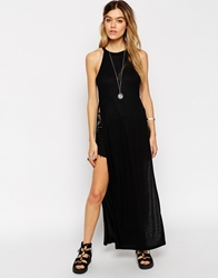 Asos Maxi Halter Top With Splits Black