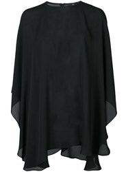 Voz Chiffon Capelet Blouse Women Silk One Size Black