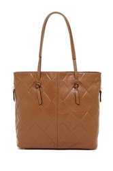 Tignanello In Knots Argyle Embossed Leather Tote Brown
