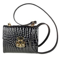 Fontanelli Small Croc Embossed Leather Handbag Black