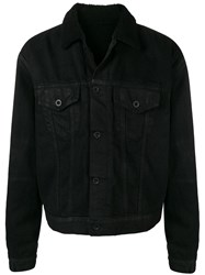 Unravel Project Buttoned Fur Collar Jacket Black