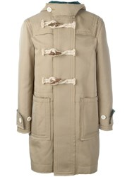 Sacai Frayed Edge Duffle Coat Nude And Neutrals