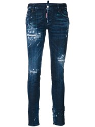 Dsquared2 Distressed Skinny Jeans Women Cotton Leather Polyester Spandex Elastane 44 Blue