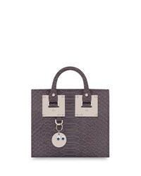 Sophie Hulme Albion Snakeskin Box Tote Bag Light Gray Light Grey