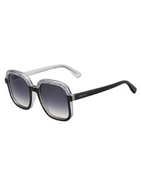 Jimmy Choo Glam Glittered Two Tone Square Sunglasses Black