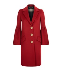Burberry Bell Sleeved Wool And Cashmere Coat Female Red